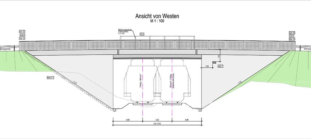 Erneuerung der SÜ über die Strecke Mühldorf - Freilassing - Technische Ansicht der Brücke